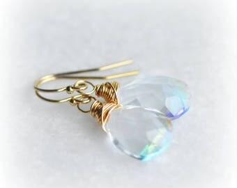 Mystic Quartz Earrings, Mystic Quartz Jewelry, Summer Gift Jewelry, Rainbow Quartz Earrings, Wire Wrapped Earrings, Gold Earrings, Blissaria