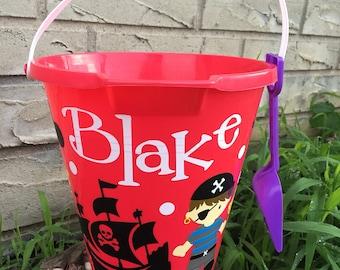 sand pail- personalized pirate beach bucket-sand bucket- beach pail pirate beach pail boys beach bucket sand pail sand bucket beach