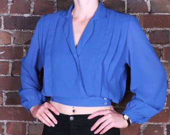 Vintage 80s Blue Evening Blouse Wrap Around Pleated Sheer Fitted Waist UK Size 10