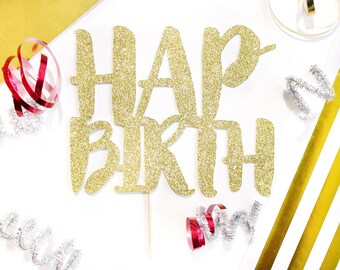 Half Birthday Cake Topper 6 Month 1 2 Glitter Gold