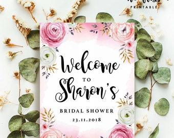 Printable Welcome Sign   Watercolor Floral Party Welcome Sign   Poster   Signage   Personalised   Printable ONLY   Digital ONLY