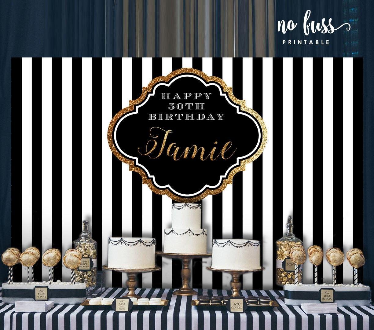 Black And White Backdrop Adults Party Banner Poster
