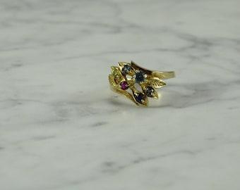 10K Gold / Multi Gem Stone Ring (size 6+)