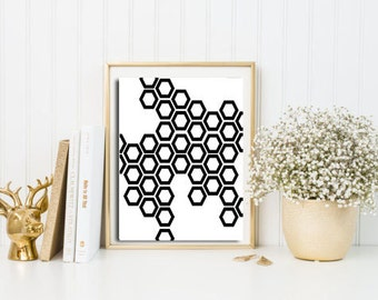 Hexagon print, geometric print art, geometry wall art, Scandinavian art, Geometric printable wall art, wall decor living room modern, prints