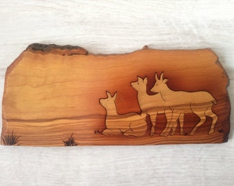 Italian wood puzzle toy vintage with goat, wall decoration