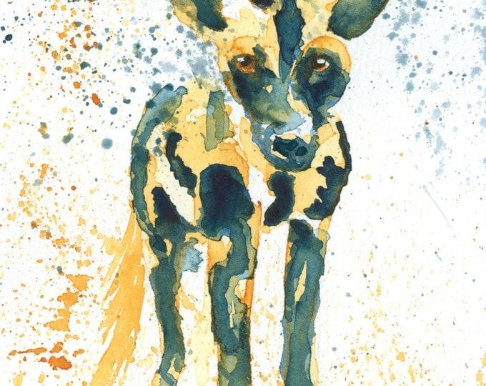 African Wild Dog Original Watercolor Painting / African animal art / original art