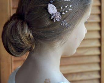 Wedding hair pins Beige floral pins Set 2 head pins Bridal head piece Beige Purple wedding accessories hair leaves pins Bridal set