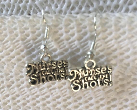Nurse or RN Antique Silver Earrings, Nurses call all the shots