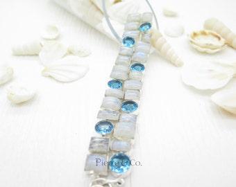 Rainbow Moonstone and Blue Topaz Sterling Silver Bracelet