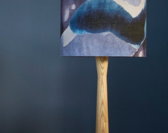 Blue, Purple & Grey Stormy Skies 20cm Drum Lampshade|Watercolour Abstract Print|Table Lamp||50/50% Cotton/Linen|Living Room|Bedroom