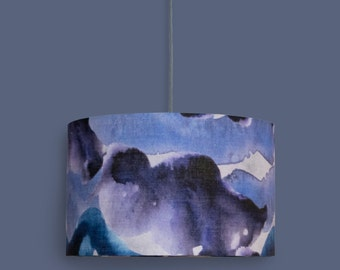 Blue, Purple and Grey Stormy Skies 40cm Drum Lampshade | Watercolour Abstract Print | Large Pendant Light| 50/50% Cotton/Linen|Living Room