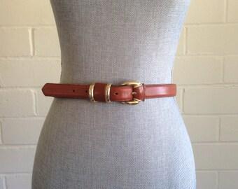 FLASH SALE! Vintage brown leather belt / gold buckle / M medium
