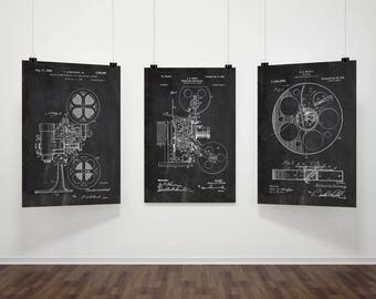 PATENT Cinema, Set of 3Prints, Cinema Wall Decor, Film Art Print, Film Wall Art, Film Wall Decor, Movie Room Decor, Film Patent Poster #P386