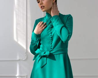 Emerald Green Dress by TAVROVSKA, Long Sleeve Fit Flare Dress, Mandarin Dress