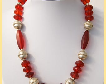 ETHIOPIAN SILVER and VENICIAN - African Cherry Rose Dutch and Venician Glass, Ethiopian Silver, Artisan Tribal Necklace. Africa