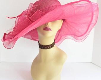 NEW Kentucky Derby, Church, Wedding, Tea Party 3 Layers Sinamay & Organza Wide Brim Dress Hat 305 ( Fuschia )