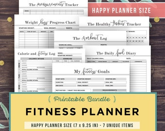 Happy Planner Printable, the Create 365 Planner, FITNESS Planner, refillable inserts, Mambi, 7x9.25 inch, health, diet weight loss, pages