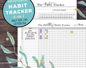 Habit Tracker Printable, Monthly habits, 30 Day Habit Challenge, Goal Planner Setting, Filofax A5, Half Size, Letter A4, Instant Download