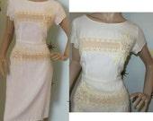 SALE! Vintage 1950s Ferman O'Grady cotton lace wiggle dress large 221