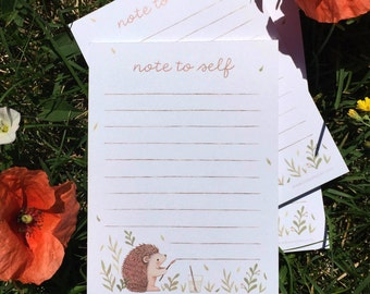 Hedgehog Notepad - Note to Self, Cute Daily To Do List, Stationary