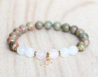 Fertility Bracelet with Rose Quartz, Moonstone, and Unakite. Pregnancy Bracelet. Hormone Balance Bracelet. Growth, Transformation, Butterfly
