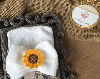 Sunflower Hospital hat, white bow Newborn Beanie, free gift wrap, White bow hat with sunflower, Hospital, infant bonnet