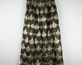Vintage Metallic Gold Skirt / Full Length High Waist Shiny Party Holiday Scalloped / Medium M Large L