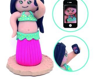 Tiny Belly Dancer Takes A Selfie - Keepsake - Belly Dance - Belly Dancing - Selfie - Clay Charm - Ornament - Gift Idea