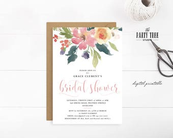 Spring Floral Bridal Shower Invitation , Printable Bridal Shower Invitation, Floral Bridal Shower , Printable Invitation , 5x7 , A6 , A5