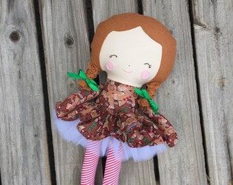 Christmas plush doll, rag doll, ballerina doll with gingerbread men