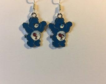 Blue Care Bear Earrings   J41