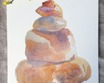 Cairn Trail Marker Watercolor Painting Print.  Hiking Wall Art.  Nature Lover Wall Decor.  Children's Camp Theme Room Decor. Red Orange Rock