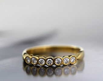 Diamond Half Eternity Ring 18 ct Yellow Gold Ring Wedding Engagement Ring