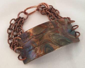 Fire Painted Copper Bracelet