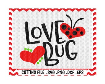 Love Bug Svg, Ladybug Svg, Dxf, Eps, Cut Files, Cutting Files For Silhouette Cameo, Cricut, Instant Download.