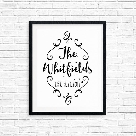 Custom Printable Wedding Sign, Your Surname & Wedding Date, Custom Last Name and Date, Table Decorations, Digital Download, Quote Printable