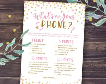 Whatu0027s On Your Phone, Printable Baby Shower Games, Baby Shower Girl, Pink  And