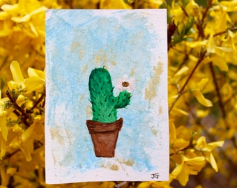 hand painted cactus greeting card