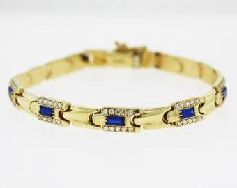 Antique Sapphire Tennis Bracelet - 14k Yellow Gold Gemstone Tennis Bracelet