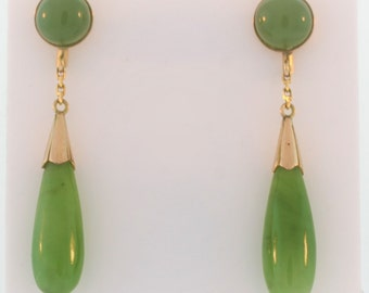 Tear Drop Jade Earrings- 14k Yellow Gold