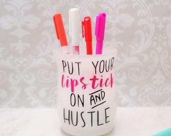Desktop Organizer, Makeup Brush Holder, Desk Organizer, Desk Accessory, Makeup Brush Storage, Pen Holder, Organizers, Lipstick And Hustle