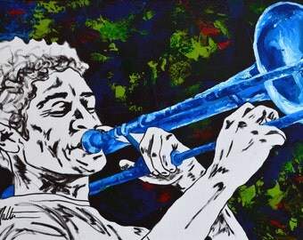 Trombone player portrait, wall art 18x24