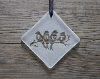 Love Birds Fused Glass Ornament / Sun Catcher; Birds on a Branch; Gifts Under 15; Handmade