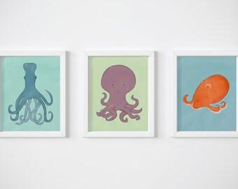 Kids Bathroom Art Set of 3 Prints - Colorful Octopus Illustrations Perfect for Your Bathroom Wall Art and Aquatic Nursery