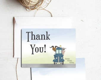 Little Blue Truck Thank You Note Card - 5x7 Personalized Birthday Party Thank You Card FREE SHIPPING