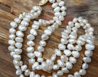 "18"" White, 2 Strand Fresh Water Pearl and 14K Necklace,  Knotted Pearl Necklace with 14K Gold Pearl Clasp, Two Strand Fresh Water Pearls"