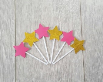 Star Cupcake Toppers , Cupcake Toppers , Custom Cake Toppers, Star Party , Baby Shower , Kids Party Decoration , Stars