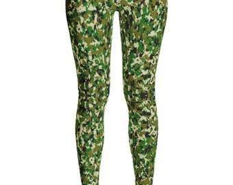 Camo Leggings - Hunting Leggings - Camouflage leggings - Camouflage Costume - Green Camo leggings - Camo legging - Childrens Leggings