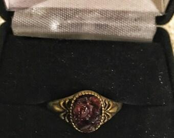 Garnet antique bronze ring