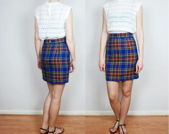 vintage MOSCHINO pencil plaid check tartan blue skirt Small
